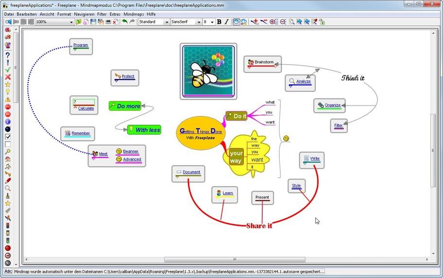 Freeplane verbindet Content, Text, Bilder Kästen, Pfeile und freie Formen zu Mind-Maps