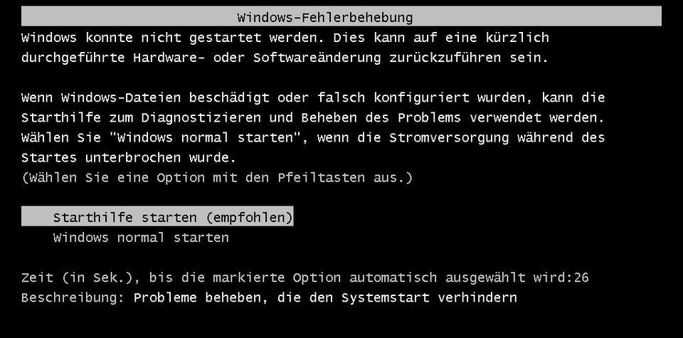 Wenn Windows nicht startet, wird die Windows-Fehlerbehebung oder eine kurze Meldung auf schwarzen Bildschirm angezeigt.