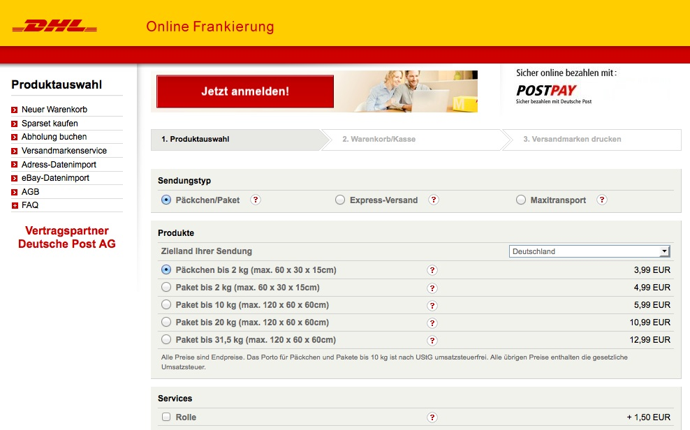 dhl online frankierung alle infos giga. Black Bedroom Furniture Sets. Home Design Ideas