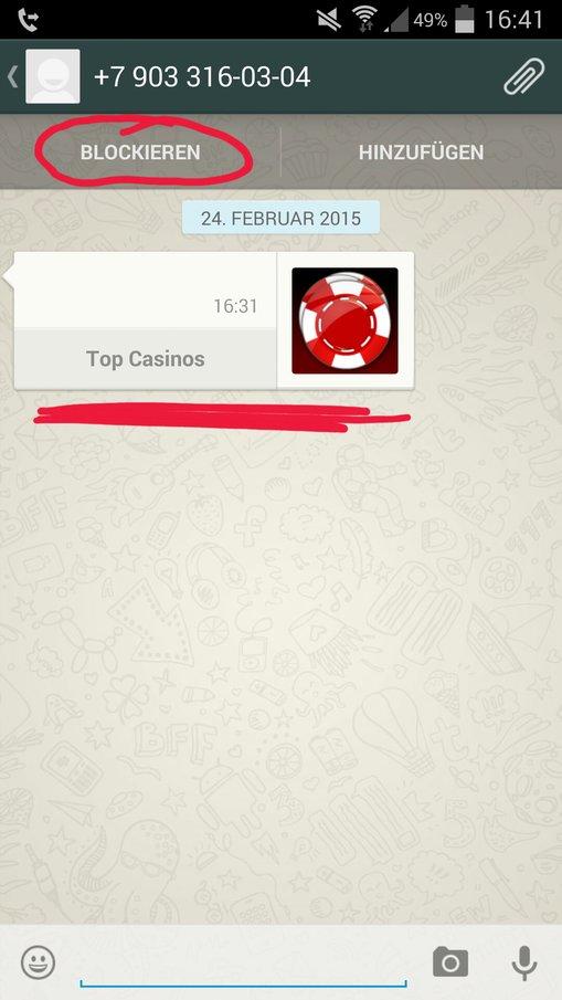 WhatsApp TopCasino blockieren