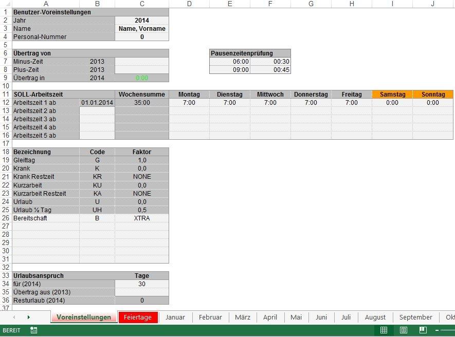 """Arbeitszeiterfassung in Excel: Die Registerkarte """"Voreinstellungen"""" ist der Einstieg in die Arbeitszeiterfassung"""