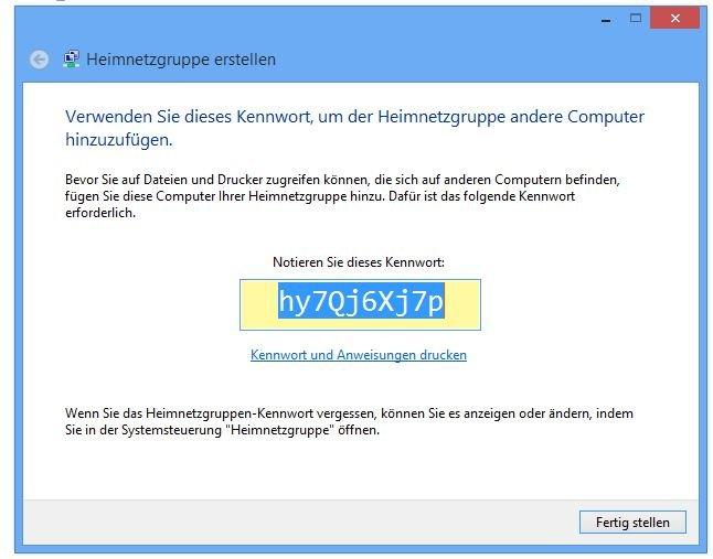 Windows: Hier wird das Passwort der Heimnetzgruppe angezeigt.