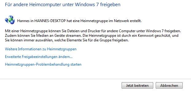 Windows: Hier könnt ihr einer Heimnetzgruppe beitreten.