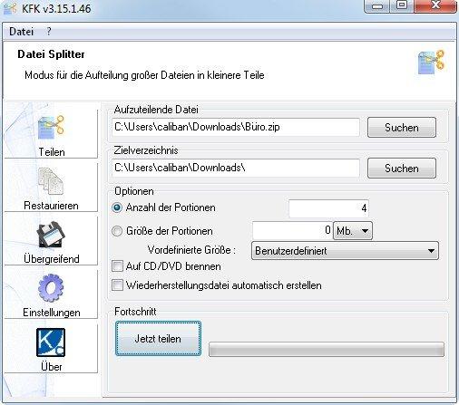 KFK schneidet und klebt Dateien