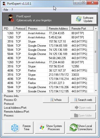 PortExpert zeigt alle Verbindungen ins Internet an