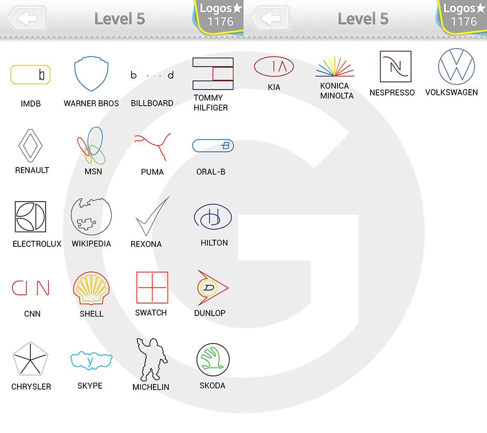 Logo Quiz Extra Levels Lösungen: Minimalist Level 5 - GIGA