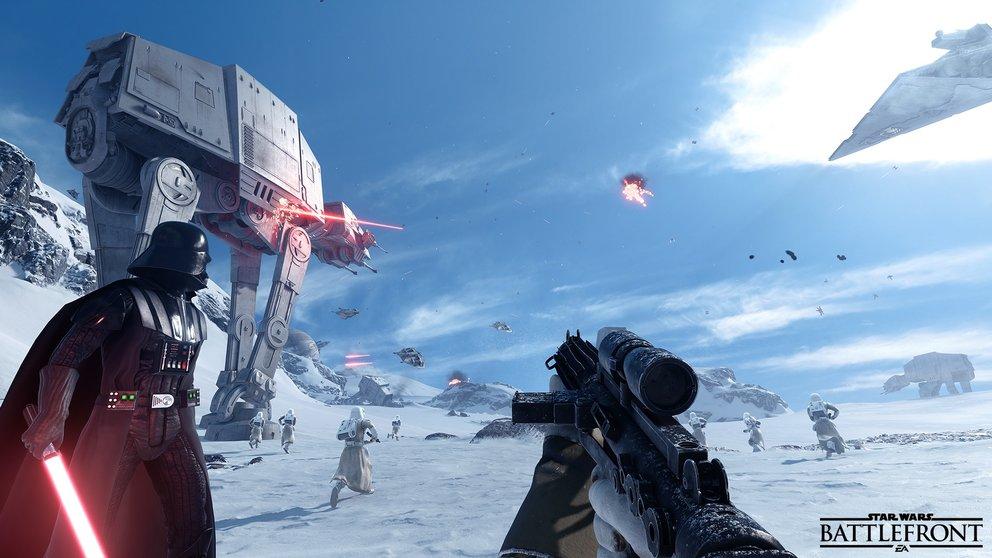Star Wars Battlefront: Mit dem Imperium kämpft ihr Seite an Seite mit Darth Vader.