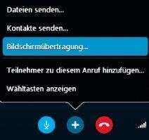 Skype: Wählt hier die Bildschirmübertragung.