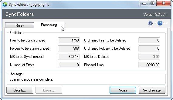 Hinter dem kleinen Programmfenster von SyncFolders verbergen sich viele Optionen