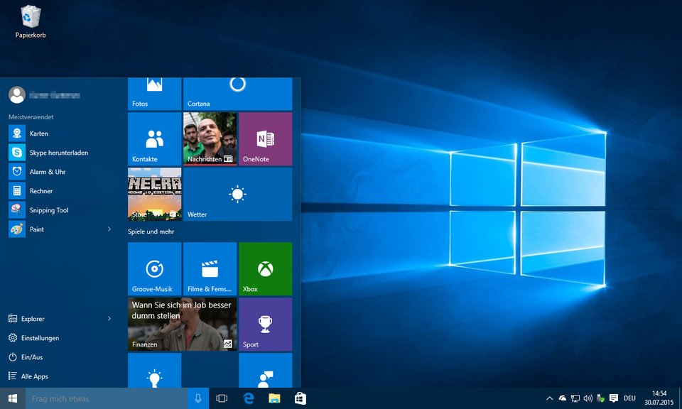 So sieht Windows 10 aus.