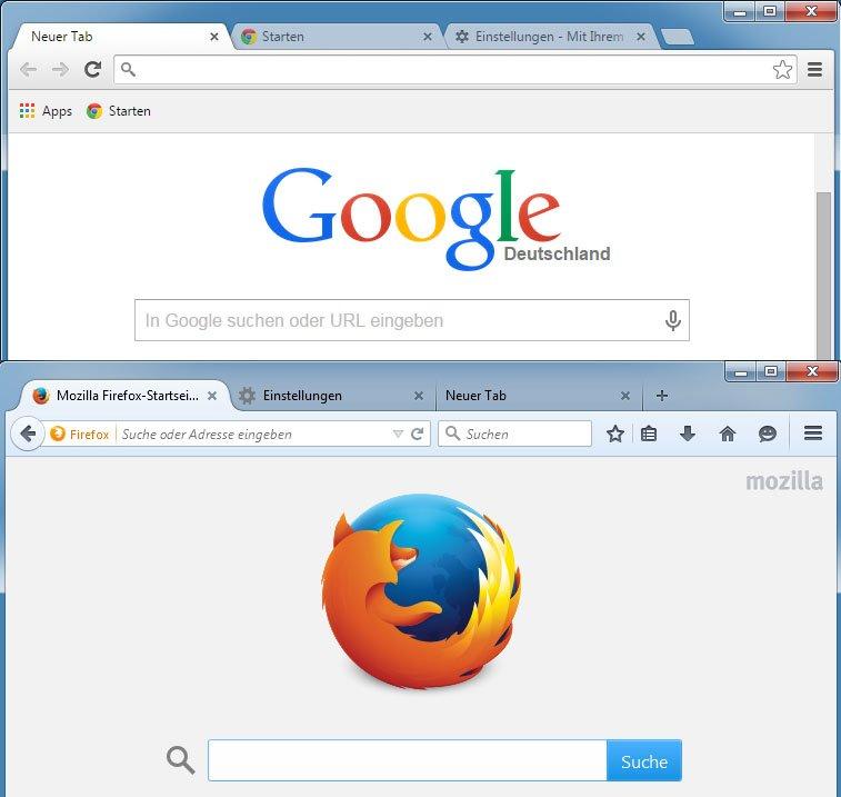 Chrome und Firefox unterscheiden sich optisch auf den ersten Blick kaum.