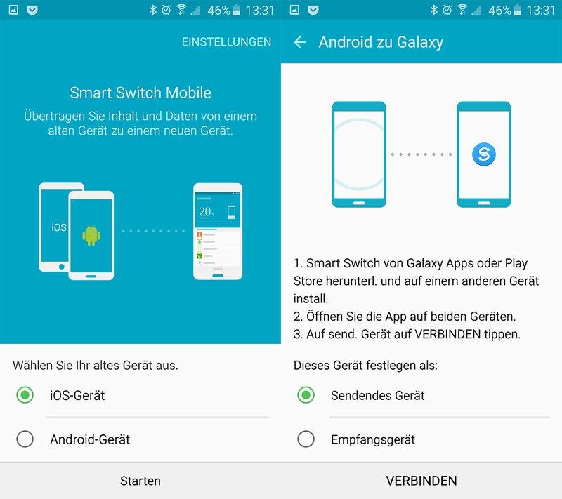 Smart Switch Mobile: Hier wählt ihr etwa Android- und das Empfangsgerät aus.