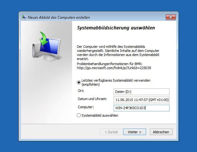 Windows 10 wählt automatisch das letzte Backup-Image aus.