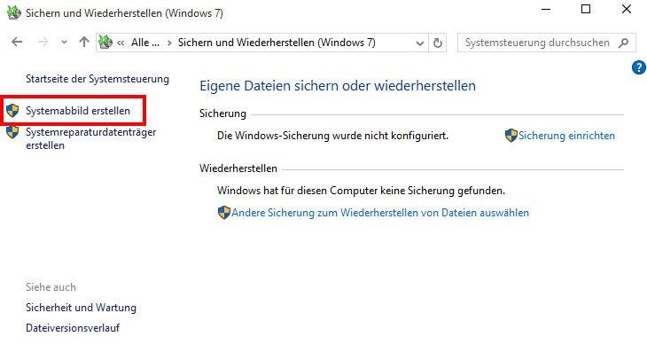 """Über """"Systemabbild erstellen"""" erstellt ihr ein Windows-10-Backup."""