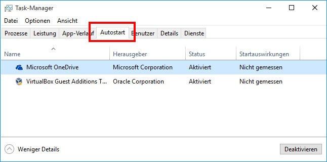Unter Windows 10 deaktiviert ihr Autostart-Programme im Task-Manager.