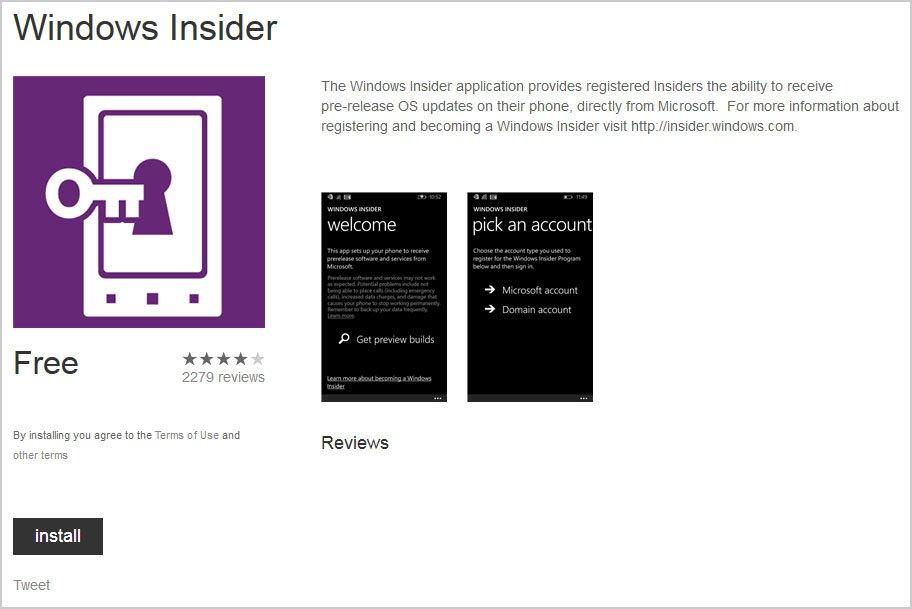 Die Installation der Insider Preview von Windows 10 Mobile erfolgt über die Insider App.