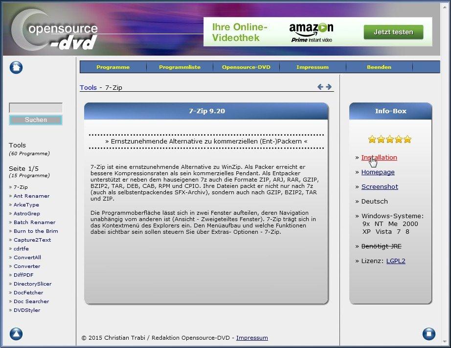 opensource-dvd programmauswahl