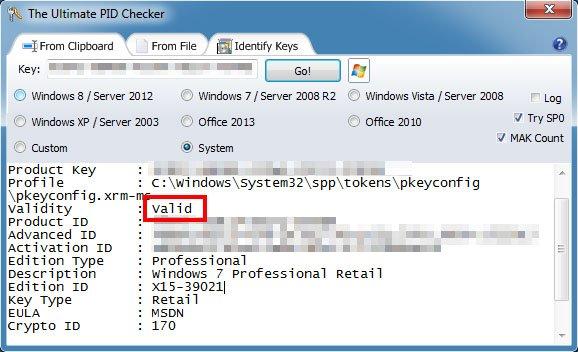 The Ultimate PID Checker: Das Tool prüft, ob der eigene WIndows Key gültig ist.