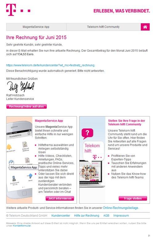 ihre telekom mobilfunk rechnung online Juni 2015
