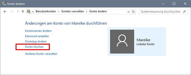Windows 10: Hier löscht ihr das Benutzerkonto.