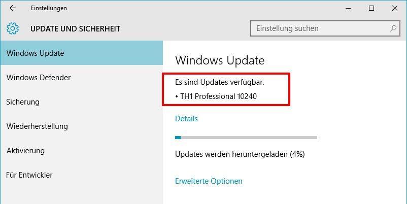 Erst nach mehrmaligem Hin und Her hat Windows 10 das Update auf Build 10240 installiert.