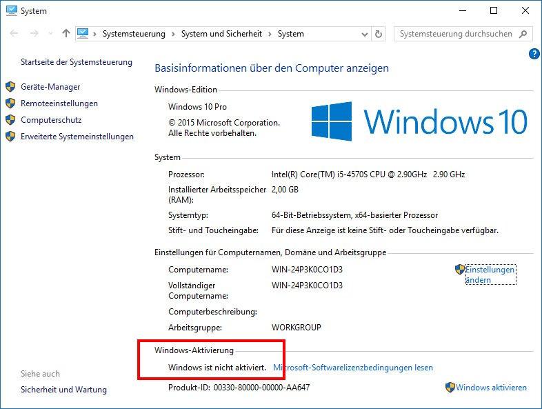 Windows 10 ist plötzlich nicht mehr aktiviert.