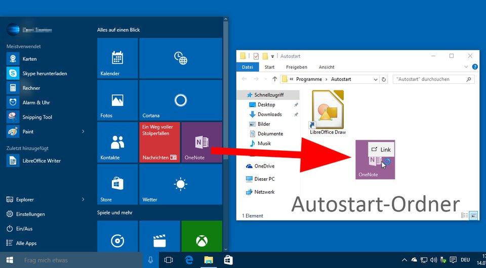 Zieht Programme per Drag & Drop in den Autostart-Ordner, um diese beim Windows-Start automatisch auszuführen.