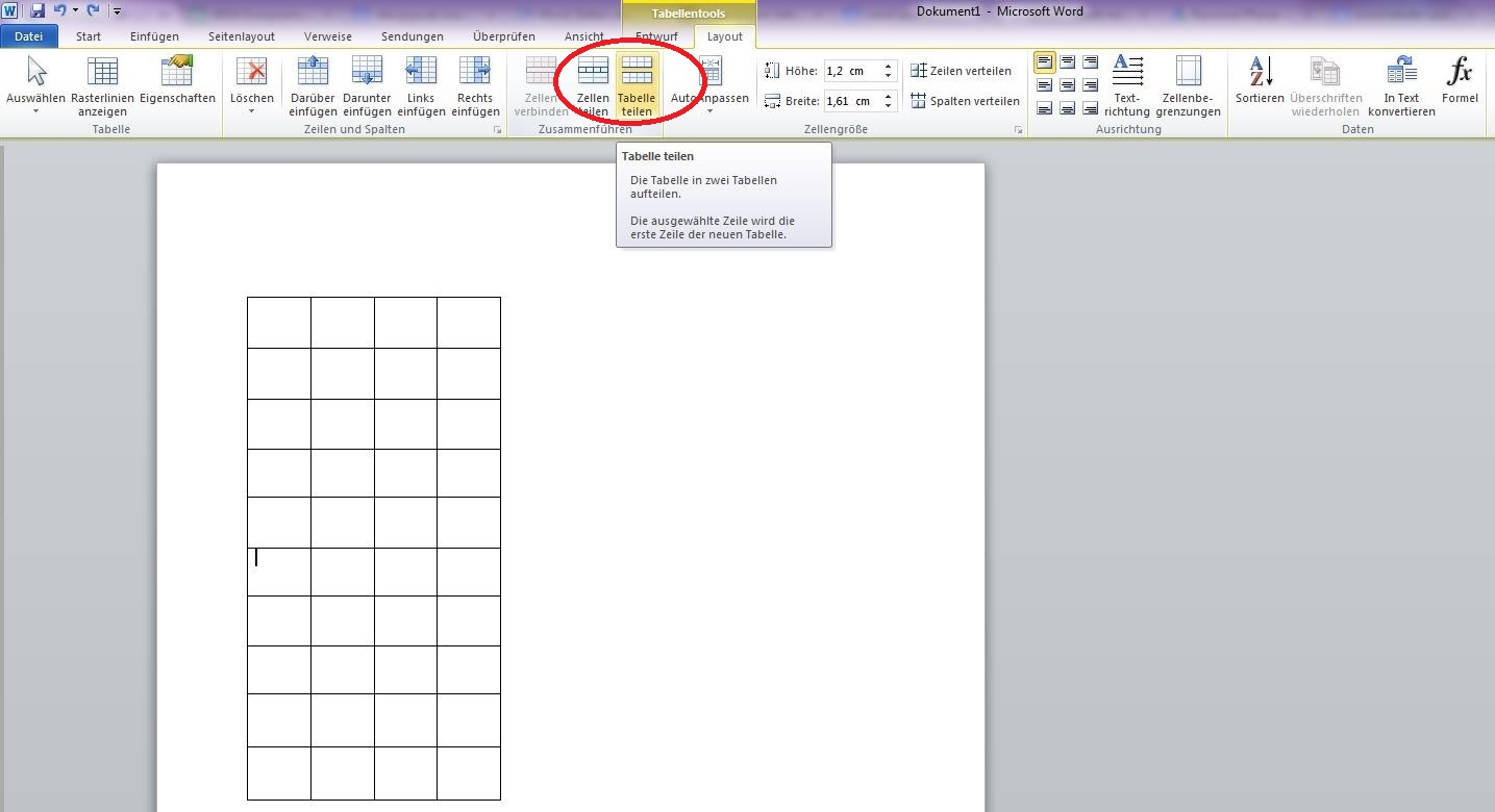 Word tabelle teilen schnell und einfach giga for Tabelle muster word