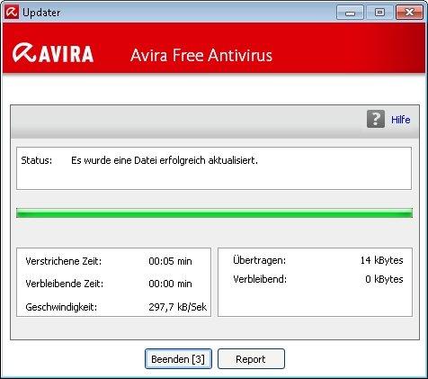 Das Avira-Update wurde angestoßen und durchgeführt.