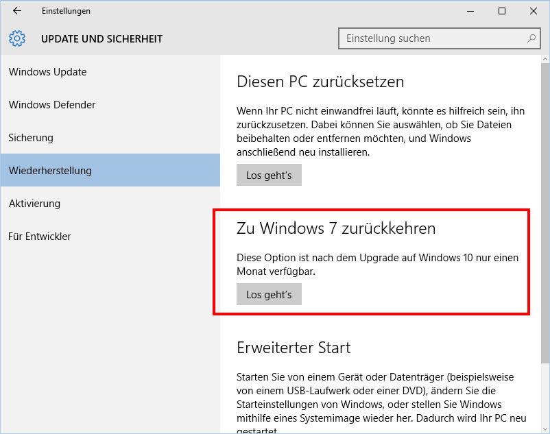 Windows-10-Downgrade: Innerhalb von 30 Tagen könnt ihr einfach zurück zu Windows 7 oder Windows 8.