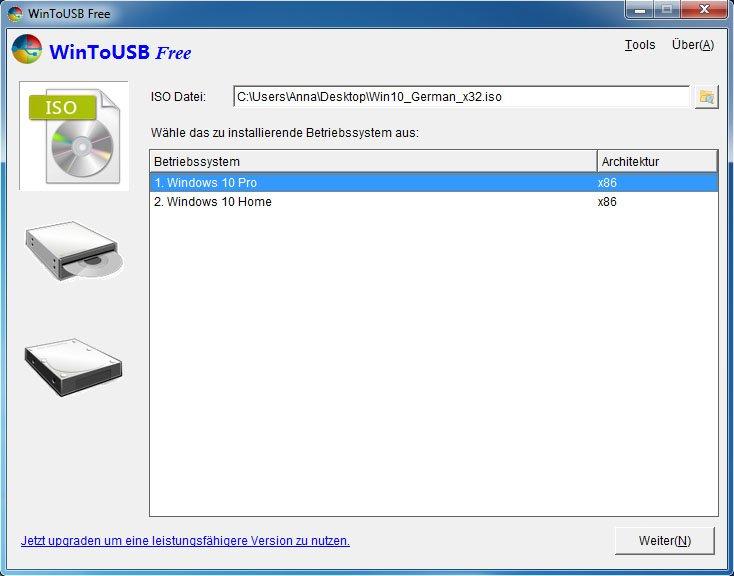 WinToUSB: Wählt oben die ISO-Datei mit Windows 10 aus und darunter die Version.
