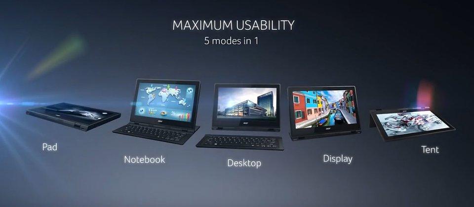 Diese Aufstellungsmodi sind beim Acer Aspire Switch 12 möglich. Bildquelle: Acer