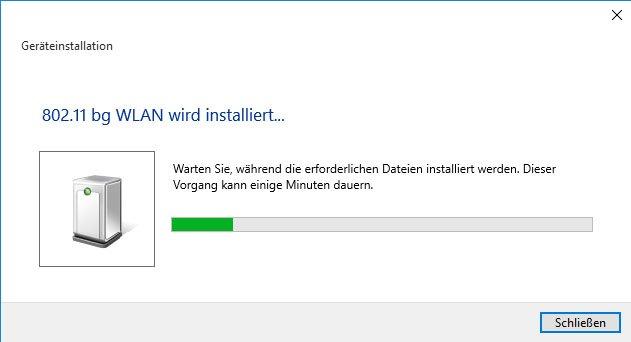 Windows 10 installiert den richtigen WLAN-Treiber.