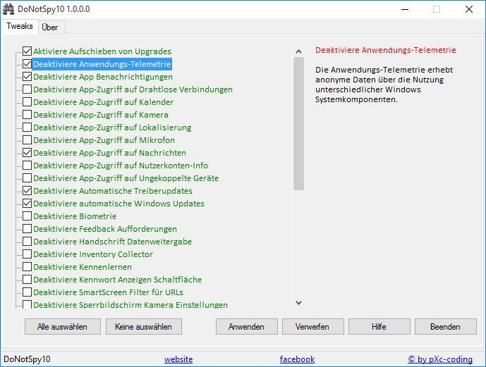 DoNotSpy10: Mit dem Tool stellt ihr alle Datenschutz-Einstellungen von Windows 10 in einer Maske ein.