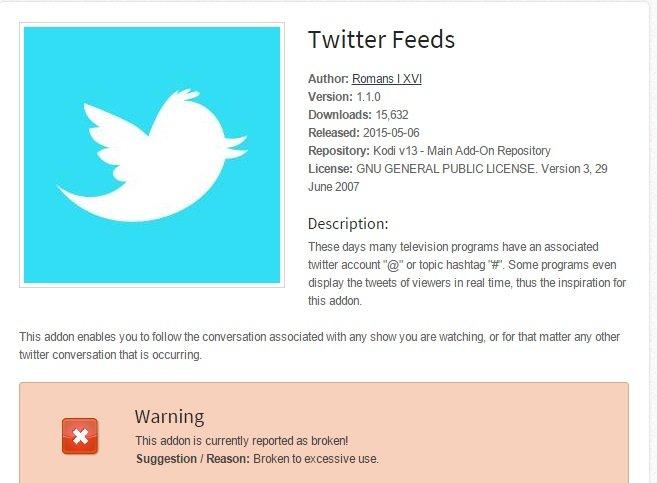 Kodi add ons beispiel twitter feed funktioniert nicht