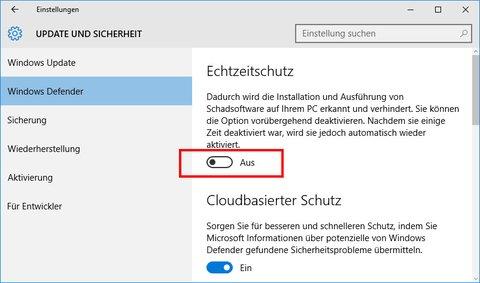 Windows 10: Hier könnt ihr den Windows Defender vorübergehend deaktivieren.