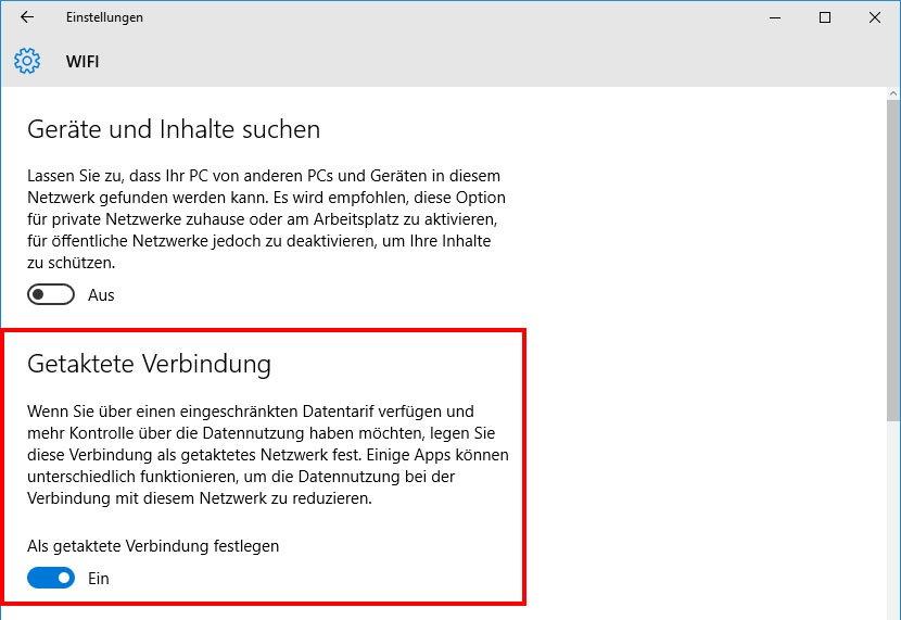 Hier aktiviert ihr die getaktete WLAN-Verbindung in Windows 10 für eingeschränkten Datentarif.
