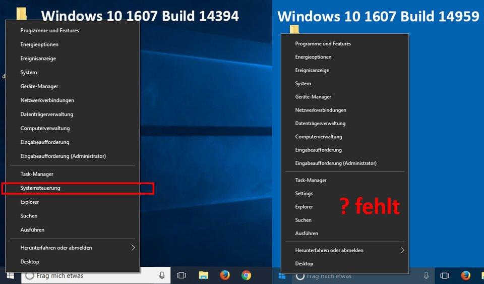 Ab Windows-10-Build 14959 gibt es den Systemsteuerung-Eintrag nicht mehr im Kontextmenü des Startbuttons.