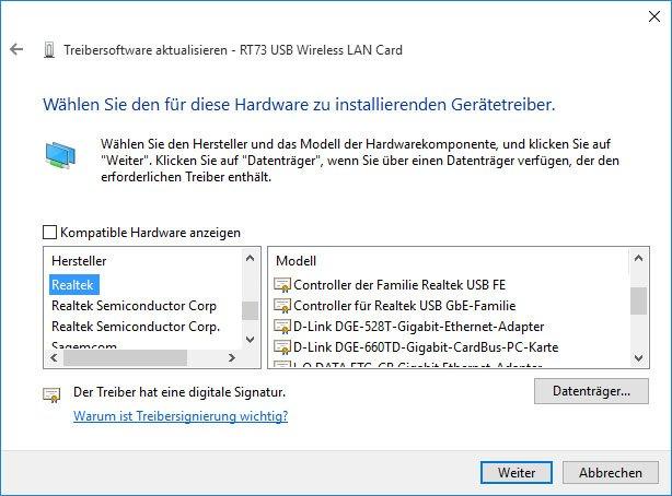 Windows 10: Hier wählt ihr manuell euren WLAN-Treiber zu eurem Netzwerkadapter aus.