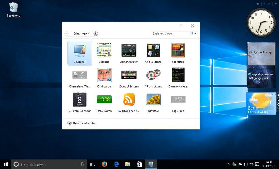 Windows 10: Das Tool 8GadgetPack bringt die Minianwendungen zurück auf den Desktop.