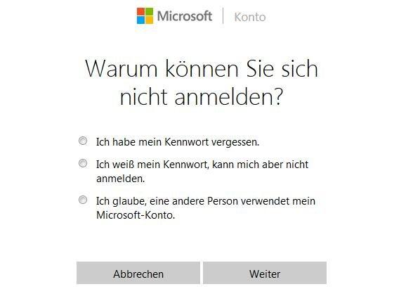 Hotmail Login Passwort vergessen