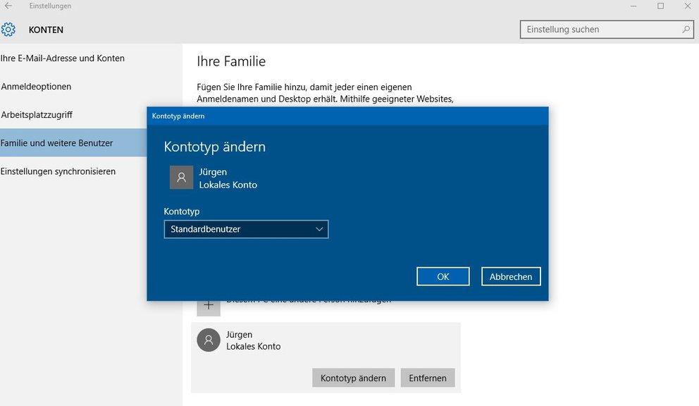 Windows 10 Benutzerkonto ändern