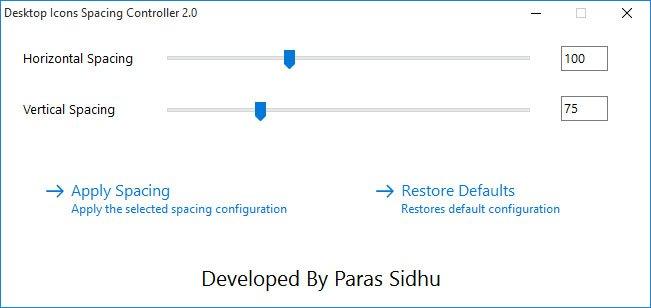 Das Tool Desktop Icons Spacing Controller ändert die Abstände der Desktop-Symbole unter Windows 10, 7 und 8.