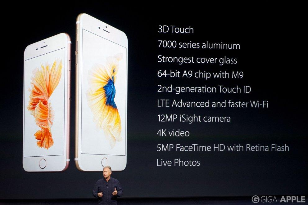 iPhone 6s und iPhone 6s Plus – neue Features. Foto: giga.de
