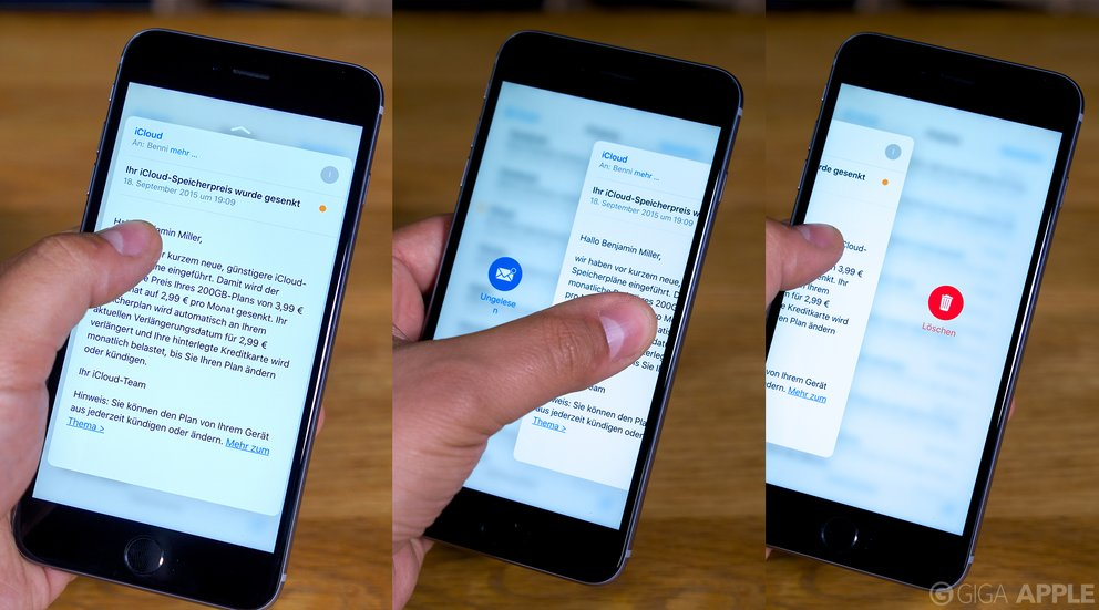 iOS 9 Peek auf dem iPhone 6s Plus