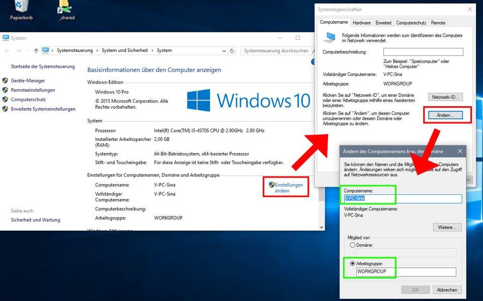 Windows 10: So ändert ihr Computername und Netzwerkgruppe für das Netzwerk.