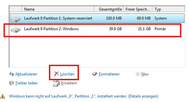 partition löschen windows