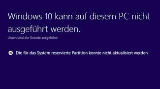 Lösung für Windows 10: System reservierte Partition konnte nicht aktualisiert werden