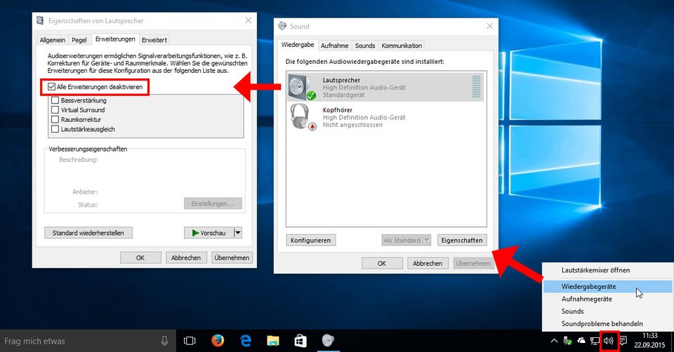 Windows 10: So behebt ihr das Sound-Problem in den Einstellungen.