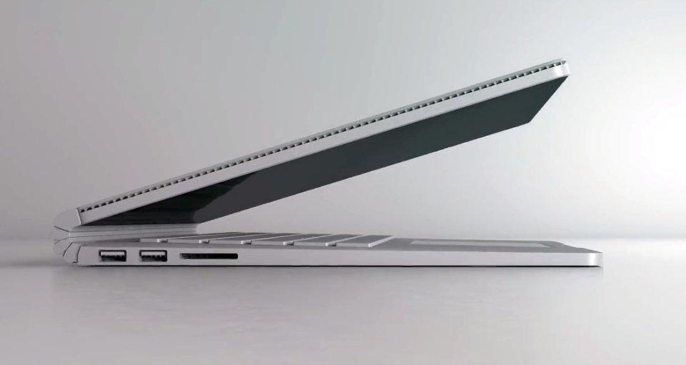 Hier ist die Seitenansicht des Surface Book.